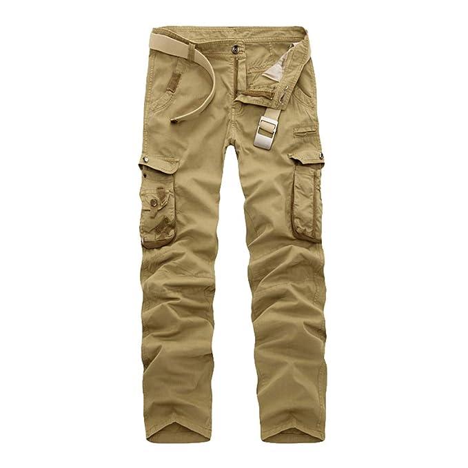 ca2c5ba67 Cayuan Pantalones Cargo con Multibolsillos para Hombre Largo Suelto ...