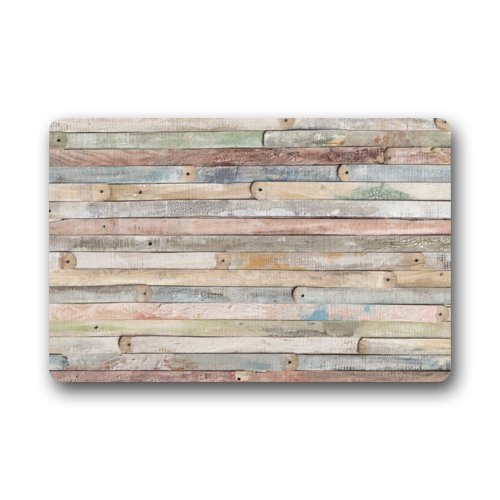 Rustic Old Barn Wood Entrance Shoe Scraper Absorbent Decor Floor Mat Inside Bedroom Carpet Home Kitchen Rug 23.6 X 15.7inch by Xbacking (Image #1)