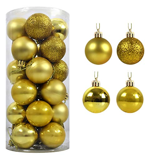 AUXO-FUN 1.57 24ct shatterproof Christmas Ball Ornaments in 4 Classic finishes (Glossy, Glitter, Matte, and Pearly Luster) for Christmas Tree Decoration (Golden Yellow)