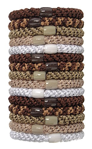 L. Erickson Grab & Go Ponytail Holders, Sand, Set of Fifteen - Exceptionally Secure with Gentle Hold