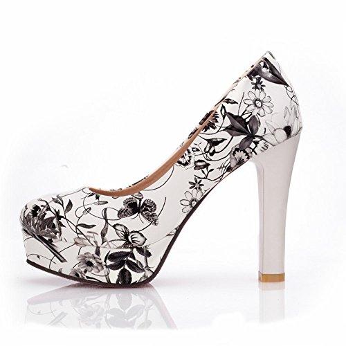 Heel Fashion Shoes Womens Flowers Foot Charm Pump Platform High Gray WPYqfpwE