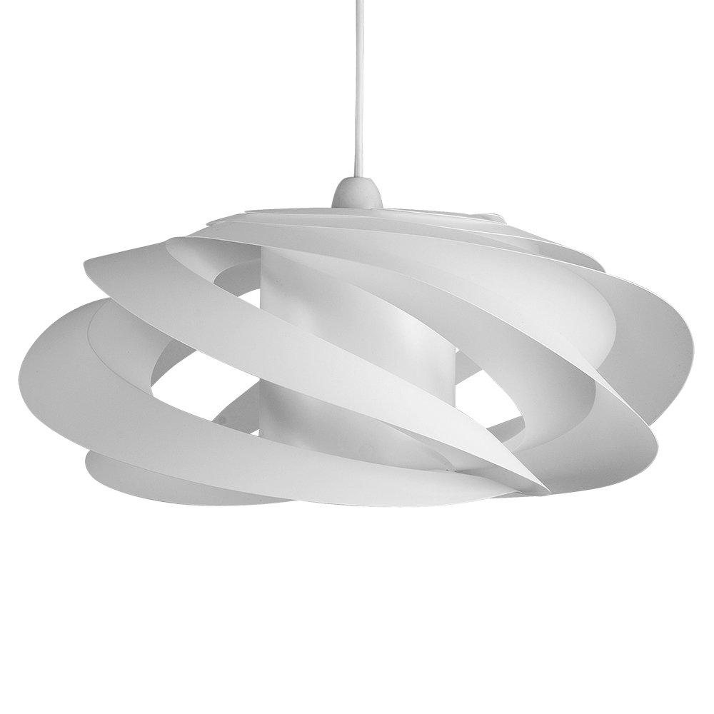 MiniSun Abat Jour Moderne pour Suspension. Abat Jour Designer KOMETT Tourbillonner et Tridimensionnel, Fini En Blanc. Suspension pour plafond