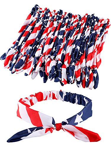 18 Pieces 4th July American Hair Bow Headband Patriotic Bowknot Hairbands Bandana Headbands Rabbit Ear Shape Headwear Hair Accessories for Women Girls