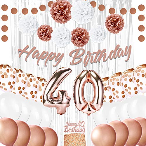 EpiqueOne Rose Gold 40th Birthday Decorations for Women - Rose Gold Ribbon, Balloons, Pom Poms, Cake Topper - 41 Pieces Party Supplies