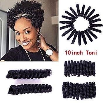 Amazon Com Furice Short Curly Crop Crochet Braids Tapered Cut Natural Hair Each Box 20strands Curled Spiral Bounce Curly Crochet Hair 10inch Saniya 1b Beauty