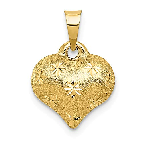 - JewelrySuperMart Collection 14k Gold Hollow Diamond-Cut Puffed Heart Pendant with Satin Finish - (Yellow Gold, 0.63 Inch Height)
