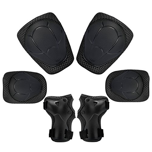 Child Kids Protective Gear Set,Knee and Elbow Pads with Wrist Guards Toddler for Multi-sports Cycling ,Bike,Rollerblading, Skating, Volleyball (Black) by KUYOU (Image #9)