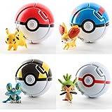 4PCS Bounce Pokemon Pokeball Cosplay Pop-up Elf Go Fighting Poke Ball Toy