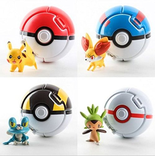 [4PCS Bounce Pokemon Pokeball Cosplay Pop-up Elf Go Fighting Poke Ball Toy Gift] (Froakie Costume)