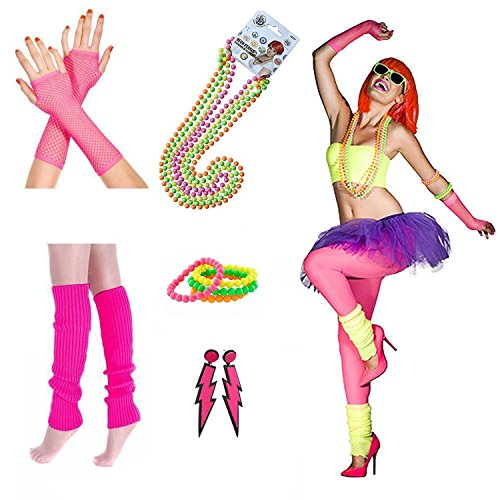 Warm Halloween Costumes For Women (iLoveCos Womens 80s Costume Accessories Fancy Outfit Dress for 1980s Theme Party Supplies, Adult Size (F11))