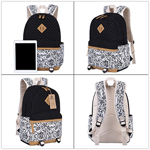 BLUBOON Canvas Backpack Girls School Bags Set for Teens, Bookbags + Shoulder bag + Pouch 3 in 1 (Black)