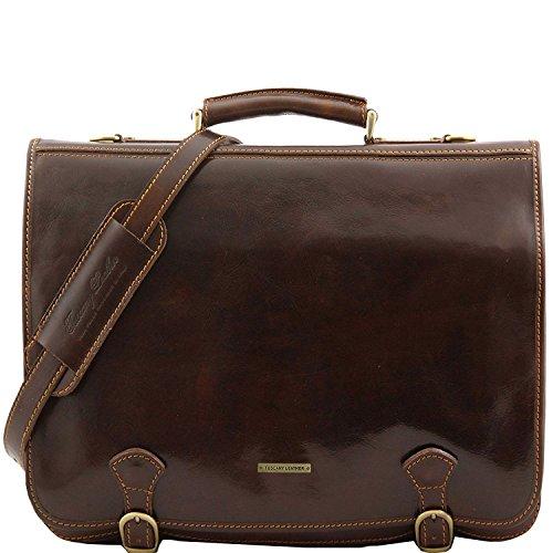 Tuscany Leather - Ancona - Leather messenger bag - Large size Dark Brown - (Ancona Leather)