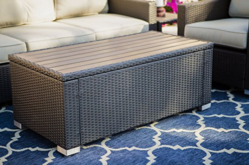 American Patio – Rectangle Coffee Table All Weather Wicker and Polywood, Espresso, 19.29 x 47.24 x 23.62