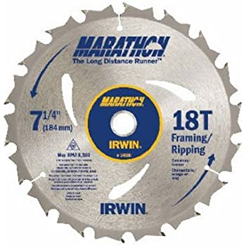 This item IRWIN Tools MARATHON Carbide Corded Circular Saw Blade, 7 1/4-inch, 18T (14028)
