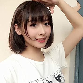 Amazon Com Korean Fashion Thin Air Bangs Wig Girls With Short Hair