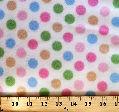 Medium Dot White Multi Dots Fleece Fabric Print by the Yard k30475-3b
