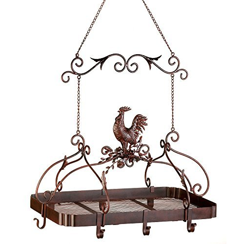 Rooster-themed Overhead Hanging Kitchen Pot Rack Made From Wrought Iron in Rust Finish - Includes 8 Hooks and 1 Open Shelf - Chain Included
