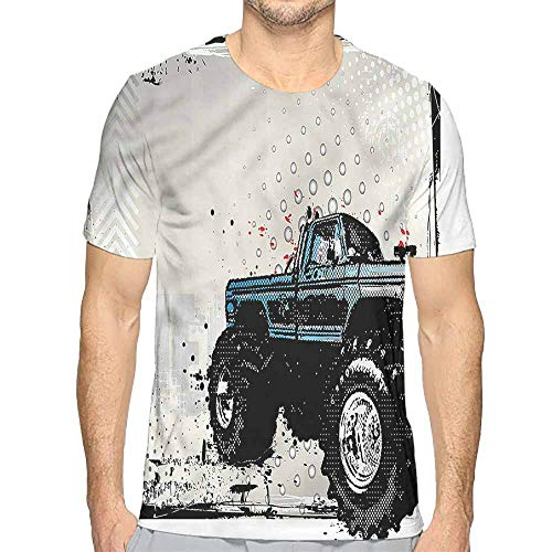 bybyhome t Shirt Printer Truck,Halftone Monster Pickup Junior t Shirt L]()