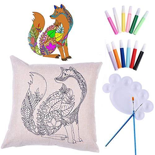 1pc Fox DIY Arte de Tela para Colorear Pintar Almohada Cojín ...
