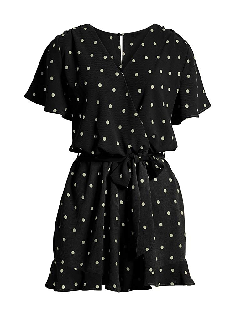 LACOZY Womens Summer Loose V Neck Ruffles Sleeve Short Jumpsuit Rompers