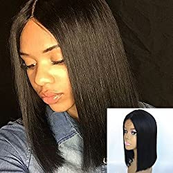 JYL Hair Brazilian Virgin Straight Shoulder Length Short Bob Wigs for Woman Middle Part Remy Human Hair Machine Made with A Little Lace in the Middle Glueless Wig (12'', natural color)