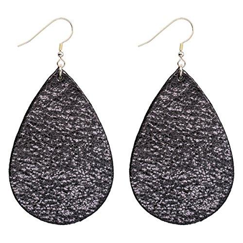 Wooworld Womens Leather Teardrop Earrings,Sterling Silver Hoop Earrings Various Colors ()