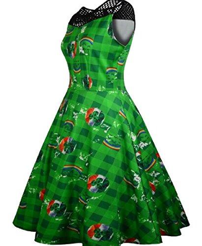 Coolred Women's Sleeveless Big Hem St. Survêtement Veste Coolred Grand Ourlet St. Patrick's Day A Clover Print Dress Green Le Jour De Patrick Une Robe Imprimé Trèfle Vert