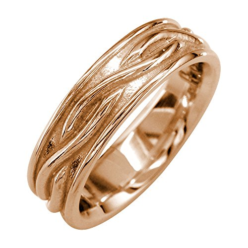 Hoop Gold Wedding 14k Band (Infinity Wedding Band in 14K Pink Gold, 6mm size 11)