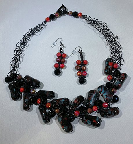 Black,Teal, and Red Crocheted Necklace and Earrings