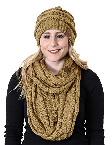 - aHS-6020a-13 Regular Slouchy Beanie Hat Matching Scarf Winter Set Bundle - Camel