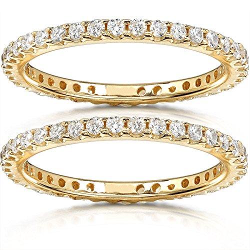 Diamond Eternity Bands 1 carat (ctw) in 14K Yellow Gold (2 Piece Set), Size 7.5, Yellow Gold 14k Yellow Gold Two Piece