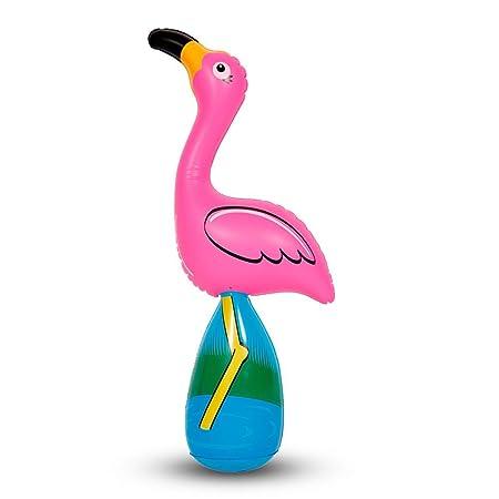 4 x Flamingo hinchable con peso sobre zócalo unkippbar ...