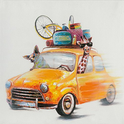 SEVEN WALL ARTS - 100% Hand Painted Oil Painting Cute Animal Road Trip Ready to Hang (24 x 24 Inch, Yellow Car)