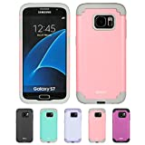 Galaxy S7 Case, HLCT Slim Hybrid Soft Interior Silicone Hard PC Back Dual-Layer Case for Samsung Galaxy S7 (2016) (Pink/Grey)