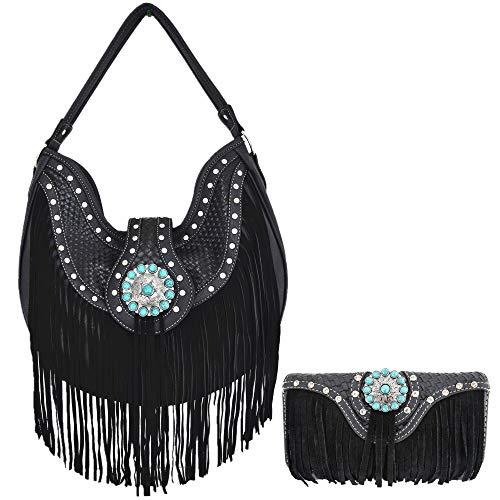 - Western Style Fringe Conchos Leather Concealed Carry Purse Country Handbag Women Shoulder Bag Wallet Set (Black)