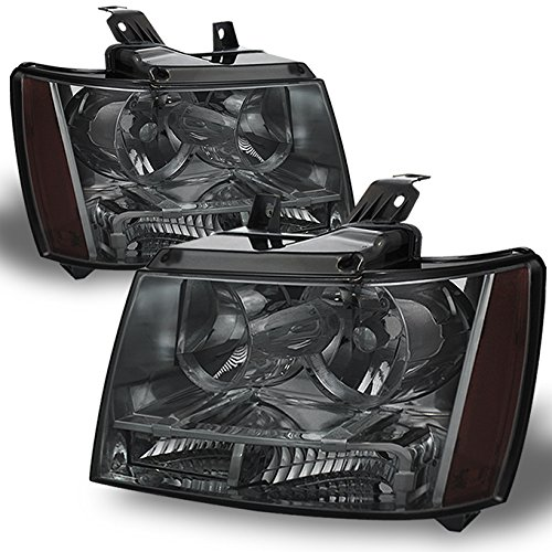 Smoked Smoke 07-13 Suburban Tahoe Avalanche Headlights Front Lamps Direct Replacement Left + Right