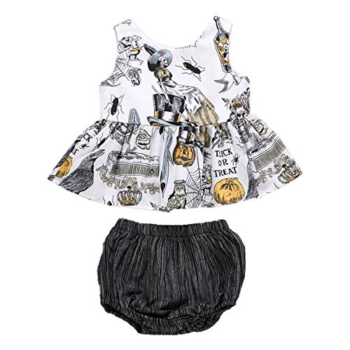 White Witch Outfit - 2Pcs Infant Toddler Baby Girls Halloween