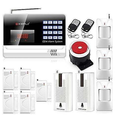 KERUI negro Color n6120g casa GSM inalámbrico sistema de alarma de seguridad + 3pcs inalámbrica PIR