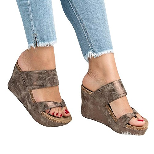 Syktkmx Womens Strappy Platform Wedges Open Toe Slingback Cork Heel Slip on Thong ()