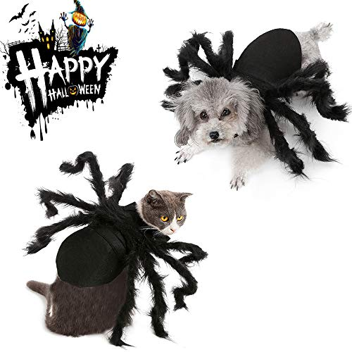 BRKURLEG Halloween Pet Costume Spider Clothes Cosplay Dog Cat Costume Apparel Clothes for Party Awesome Dress Up Horror…