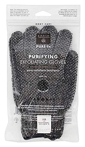 Earth Therapeutics - Pure fx Purifying Exfoliating Gloves with Medicinal Bamboo Charcoal - 1 Pair