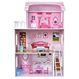 MD Group DollHouse Wood Cottage Pink House Playset with Furniture Non-toxic Kids Play House