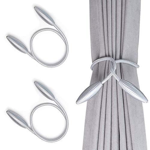4 Pack Curtain Tiebacks,Random Modeling Drapery Tie Backs,Decorative Rope Holdbacks/Holder Window Blackout Sheer Panels,Dark Grey Pink