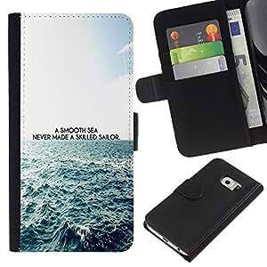 KingStore / Leather Etui en cuir / Samsung Galaxy S6 EDGE / Suave Mar buenos marineros Cita Waves Vida