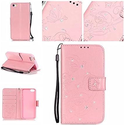 Étui portefeuille élégant pour iPhone SE/5S/5 10,2 cm, Apple iPhone SE, coque de luxe 3D faite à la main avec strass et strass papillon à la mode en ...