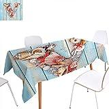 familytaste Letter V Rectangular Tablecloth Nautical ABC with Beach Inspired Coastal Oceanic Marine
