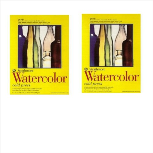 Strathmore 300 Series Watercolor Paper 9 in. x 12 in. pad of 12 wire bound [PACK OF 2 ],white ()