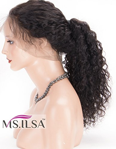 Indian Hair Wigs (Curly 360 Wig Pre Plucked, MS.ILSA Indian Remy Human Hair Wigs for Black Women Glueless 360 Frontal Wigs with Baby Hair and High Ponytail 18inches Natural Color)