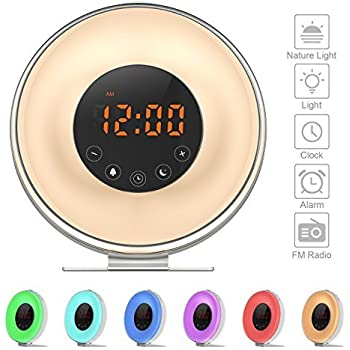 Wake Up Light Alarm Clock - Sunrise Simulation Alarm Clock (2017 Upgraded) With 6 Natural Sounds, FM Radio, Snooze & Sunset Function For Heavy Sleepers, Touch Control 7 Color LED Light and USB Charger