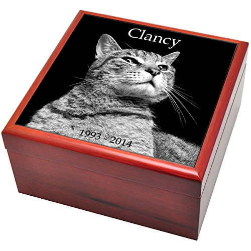 Custom Personalized Engraved Cherry Finish Wood Photo Box Pet Urn with Granite Tile, Small